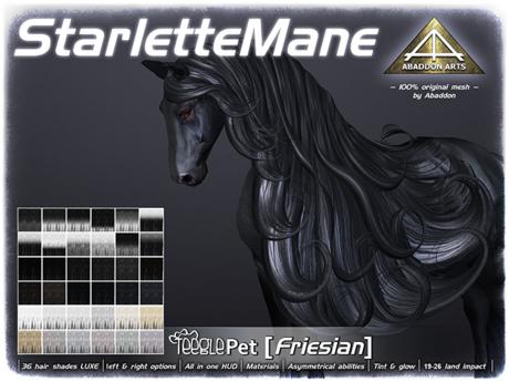 ABADDON ARTS - Starlette Mane LUXE [Teeglepet Friesian]