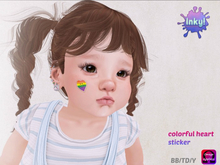 Inky! colorful heart sticker omega face applier