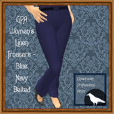 GPA Women's Trousers Linen - Blue Navy  (ADD & touch)