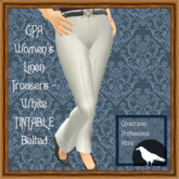 GPA Women's Trousers Linen - White TINTABLE (ADD to unpack)