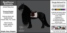 *E* RealHorse Animesh Rideable Horse Friesian English [Add & Click]