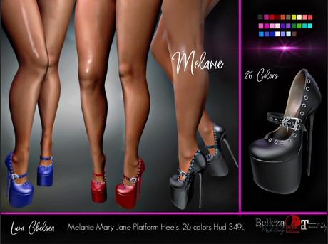 PROMO, Melanie Modern Mary Jane platform high heel stiletto shoes. 26 Colors, HUD, fatpack, Sale, Maitreya Slink Belleza