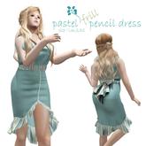 Pastel Frills Pencil Dress - Rigged Mesh