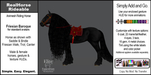 *E* RealHorse Animesh  Rideable Horse: Friesian Baroque [Add & Click]
