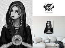 * 5th5ea5on * Destiny / Black & White Female Astrologist Wall Art