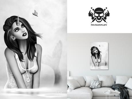 * 5th5ea5on * Oceanna / Black & White Female Mermaid Wall Art