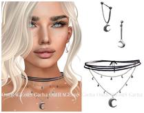 `M.BIRDIE / Magical Mood.- Moon Necklace & Earrings - Silver