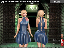 [S] Zeta Sleeveless Flare Dress Blue