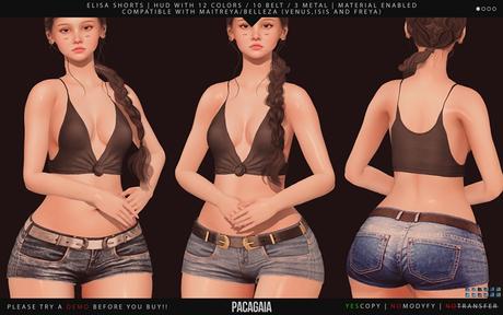 :PC: Elisa Shorts (Belleza Venus, Isis, Freya, Slink Physique, Hourglass, Maitreya Lara)