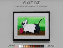 ~AMU~ Ghost Cat - framed Halloween cartoon art