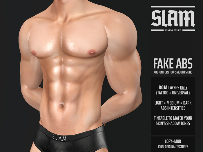 SLAM // fake BOM abs // tattoo layer add-on (for any smooth skin)
