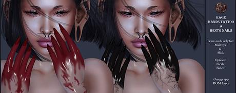 Suicide Gurls - Rage hands tattoo & bento nails