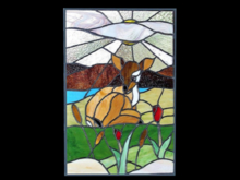 1 Prim WALL DECOR-09 Window Stained Glass Fawn & Flowers COPY/MOD Place anywhere! SL ILLUSION Crafted ART looks real
