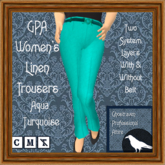 GPA Women's Trousers Linen - Aqua Turquoise