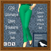 GPA Women's Trousers Linen - Green Jade (ADD & touch)