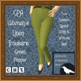 GPA Women's Trousers Linen - Green Pepper (ADD & touch)