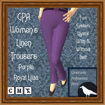 GPA Women's Trousers Linen - Purple Royal Lilac (ADD & touch)