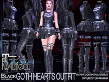 MALified - Goth Hearts Outfit (Black): Maitreya Only