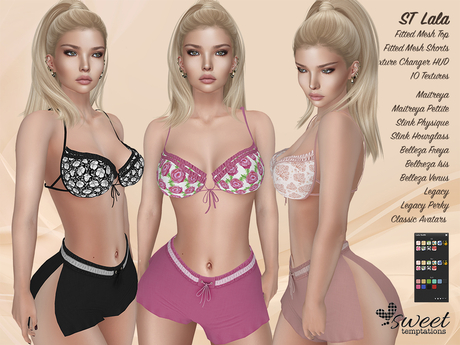 PROMO - ST :: Lala Outfit for Maitreya Lara, Slink, Belleza, Legacy and Classic Avatar. 10 Text HUD