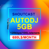 Radio Stream 5 GB Space Schoutcast Server 100 listeners One month HQ streaming, Renewable
