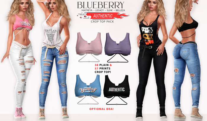 Blueberry - Authentic - Crop Tops - Fat Pack