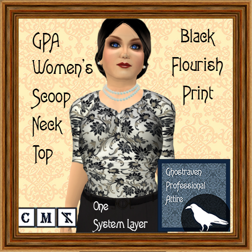 GPA Women's Scoop Neck Top - Black Flourish Print ADD to unpack