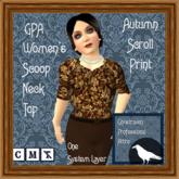 GPA Women's Scoop Neck Top - Autumn Scroll Print -ADD to unpack