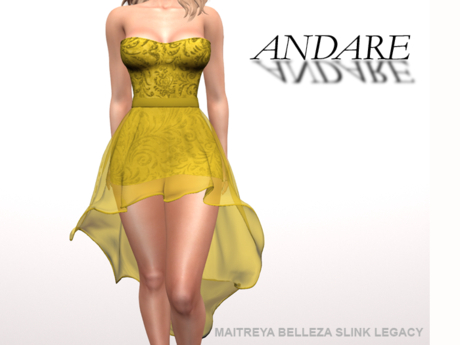 Andare - Molly Dress with Tulle Skirt Yellow