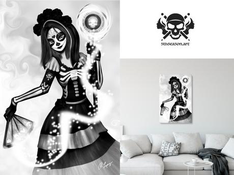 * 5th5ea5on * Wisdom / Female Skeleton Portrait Wall Art