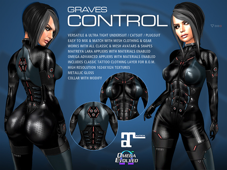 GRAVES Control - leather latex bodysuit, catsuit, plugsuit, undersuit - Maitreya and Omega appliers