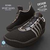 -[d9]- Ronin Sport Shoes - Black with White Trim