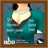 GPA Women's Bolero Jacket - Aqua Quetzal Green (ADD & touch)