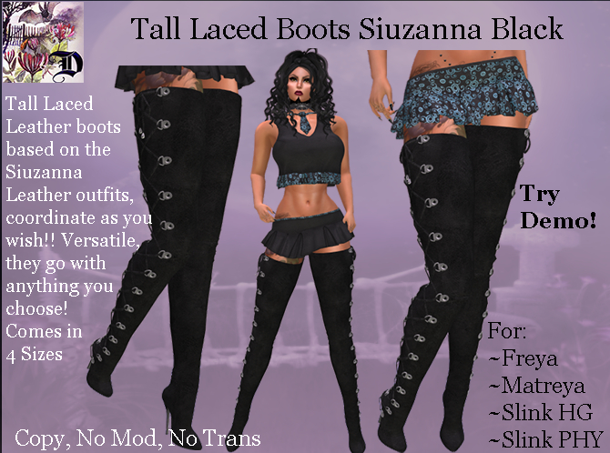 Tall Laced Boots Siuzanna BLACK (ADD ME)