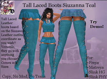Tall Laced Boots Siuzanna TEAL (ADD ME)