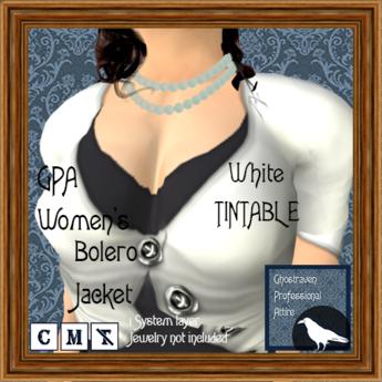 GPA Women's Bolero Jacket - White TINTABLE (ADD to unpack)