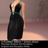 Slink ~ V-Plunge Dress ~ Green-Black