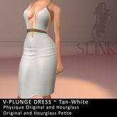 Slink ~ V-Plunge Dress ~ Tan-White