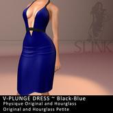 Slink ~ V-Plunge Dress ~ Black-Blue