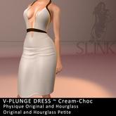 Slink ~ V-Plunge Dress ~ Cream-Choc