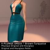 Slink ~ V-Plunge Dress ~ Brown-Turquoise
