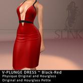 Slink ~ V-Plunge Dress ~ Black-Red