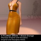 Slink ~ V-Plunge Dress ~ Black-Orange
