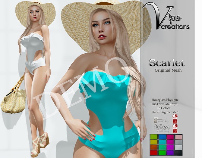 [Vips Creations] - DEMO - Original Mesh Swimsuit-[Scarlet-Colors]FITTED