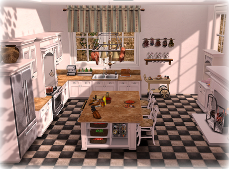 Second Life Marketplace Dinner Party Kitchen White And Marble Part Mesh