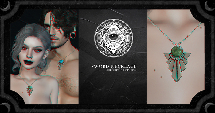 the crone . sword necklace {pink ruby}