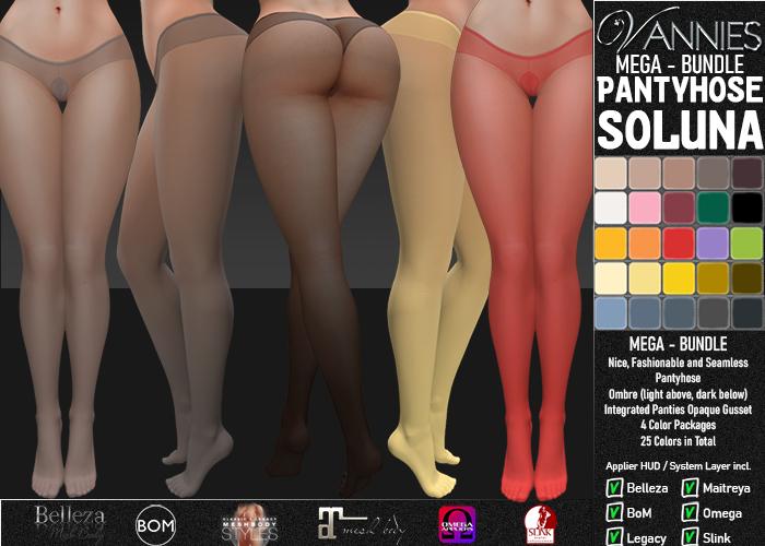 VANNIES Pantyhose Soluna Ombre MEGA BUNDLE (Applier HUD + BoM) Belleza, Legacy, Maitreya, Slink, Omega + Classic Avatar)