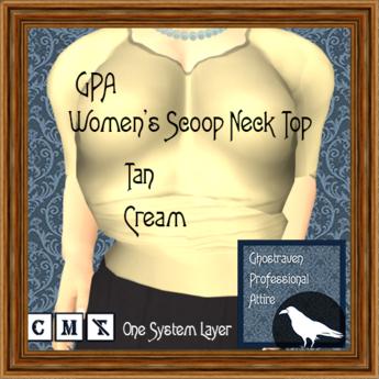 GPA Women's Scoop Neck Top - Tan Cream (ADD to unpack)