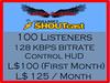 Lethal Streamz 128KBPS Shoutcast 100 Listeners (60% Discount)