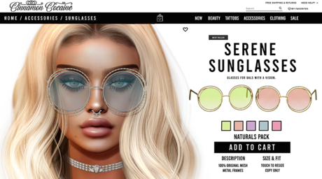 [Cinnamon Cocaine ] Serene Sunglasses - Naturals