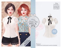 The Secret Store - Mary Pleated Shirt - Maitreya Lara, V-Tech, Belleza Freya, Slink Hourglass - Milk